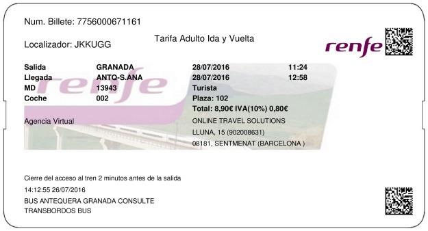 Billete Tren Granada  Antequera 28/07/2016