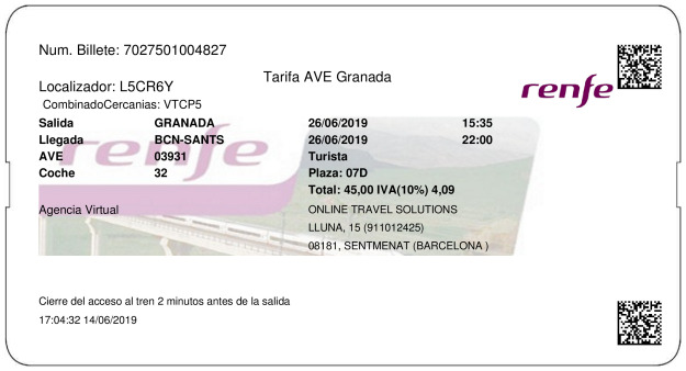 Billete Tren Granada  Barcelone 26/06/2019