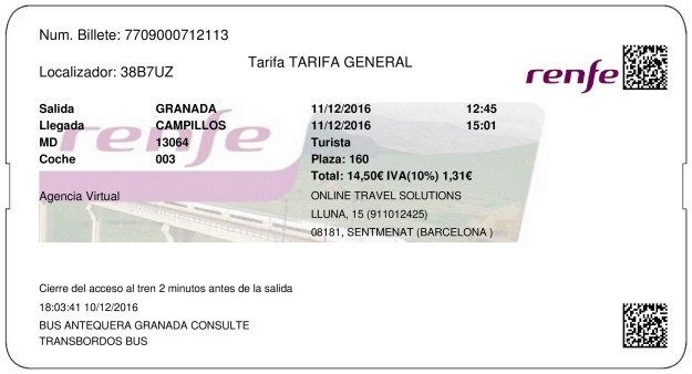 Billete Tren Granada  Campillos 11/12/2016