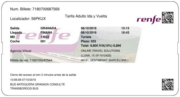 Billete Tren Granada  Fiñana 08/10/2016