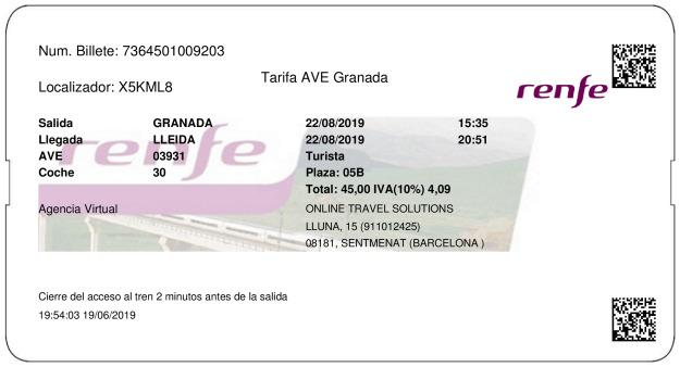 Billete Tren Granada  Lleida 22/08/2019