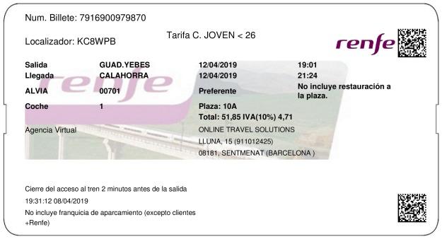 Billete Tren Guadalajara  Calahorra 12/04/2019