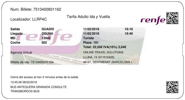 Billete Tren Guadix  Osuna 11/02/2018
