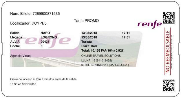 Billete Tren Haro  Logroño 13/05/2018