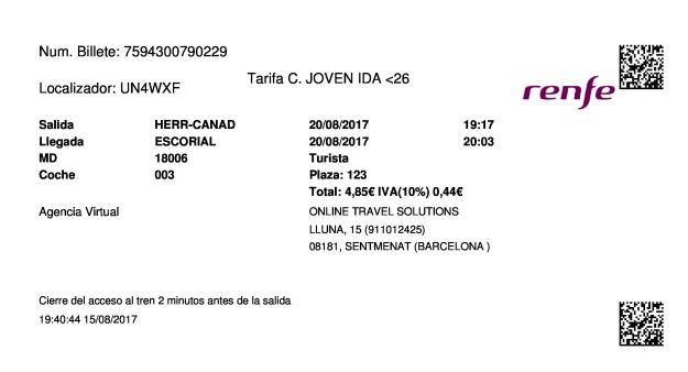 Billete Tren Herradón de Pinares  El Escorial 20/08/2017