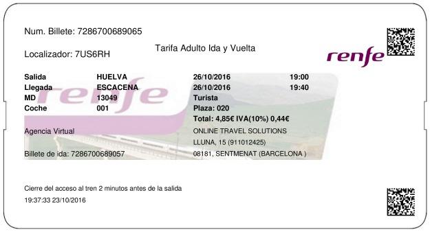 Billete Tren Huelva  Escacena del Campo 26/10/2016