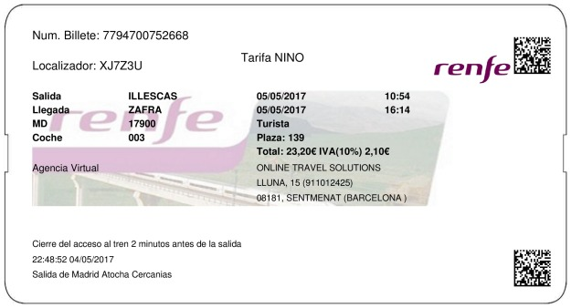 Billete Tren Illescas  Zafra 05/05/2017