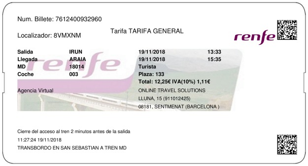 Billete Tren Irún  Araia 19/11/2018