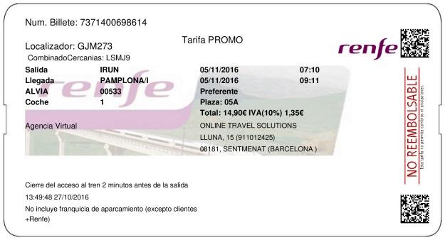 Billete Tren Irún  Pamplona 05/11/2016