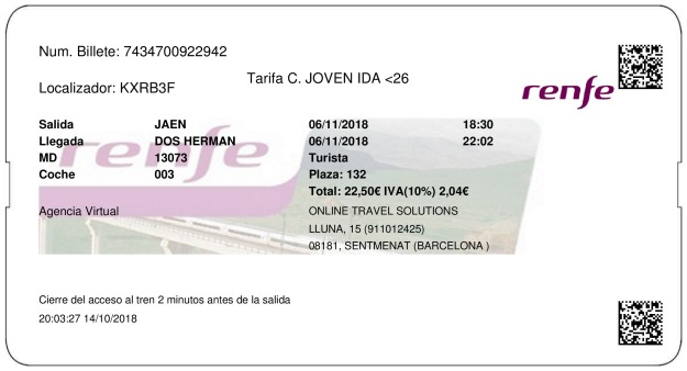 Billete Tren Jaén  Dos Hermanas 06/11/2018