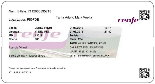 Billete Tren Jerez De La Frontera  Villa del Río 01/08/2018