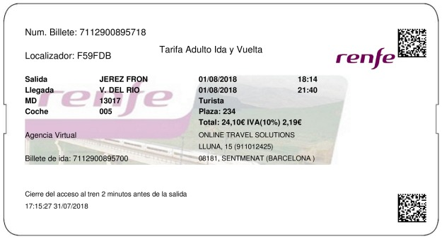 Billete Tren Jerez De La Frontera  Villa del Rio 01/08/2018