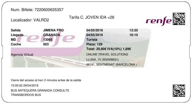 Billete Tren Jimena De La Frontera  Granada 04/05/2016