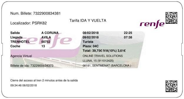 Billete Tren La Coruña  Ávila 08/02/2018