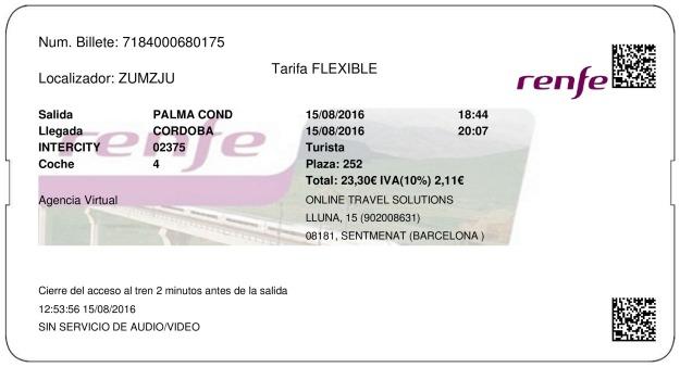 Billete Tren La Palma Del Condado  Córdoba 15/08/2016