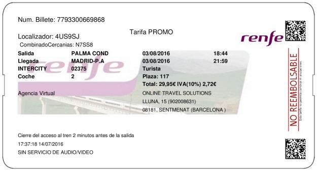 Billete Tren La Palma Del Condado  Madrid 03/08/2016