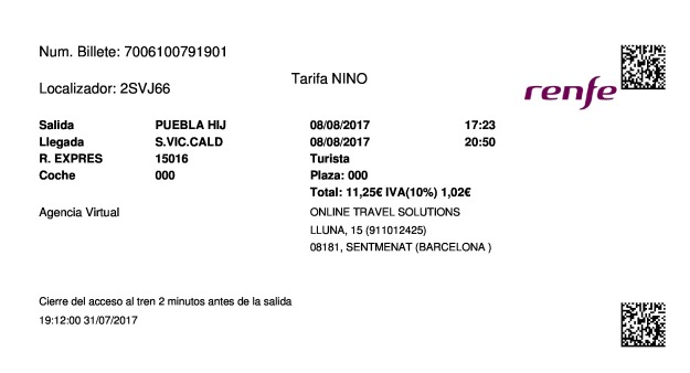 Billete Tren La Puebla de Híjar  Sant Vicenç De Calders 08/08/2017