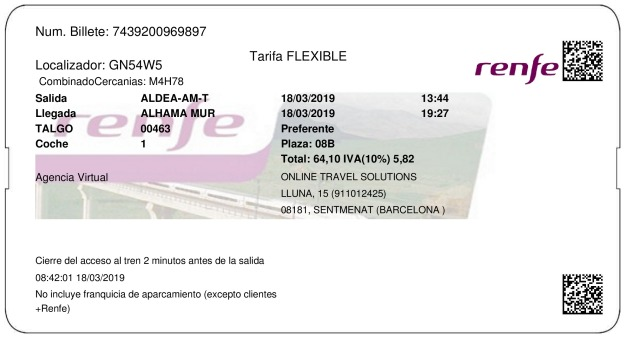 Billete Tren L'Aldea  Alhama De Murcia 18/03/2019
