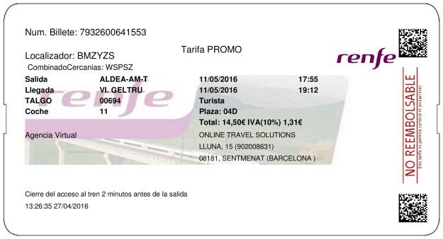 Billete Tren L'Aldea  Vilanova i la Geltrú 11/05/2016
