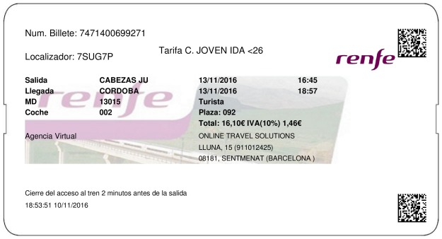 Billete Tren Las Cabezas De San Juan  Córdoba 13/11/2016