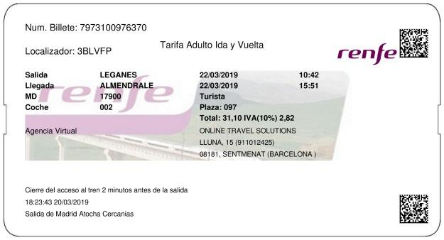 Billete Tren Leganés  Almendralejo 22/03/2019