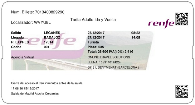 Billete Tren Leganés  Badajoz 27/12/2017