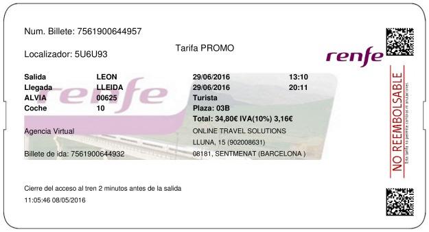 Billete Tren León  Lleida 29/06/2016