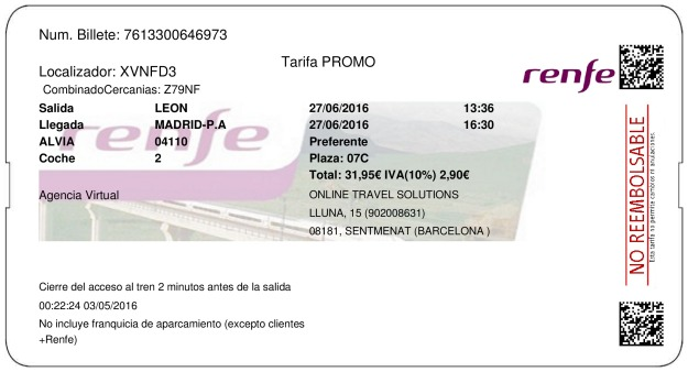 Billete Tren Lion  Madrid 27/06/2016