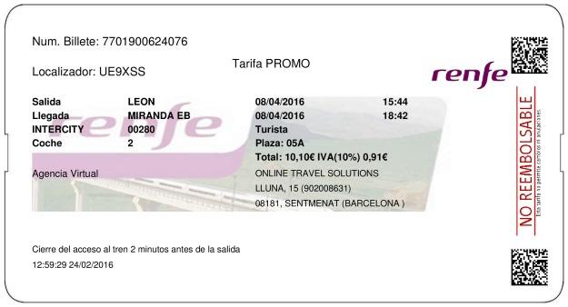 Billete Tren León  Miranda De Ebro 08/04/2016
