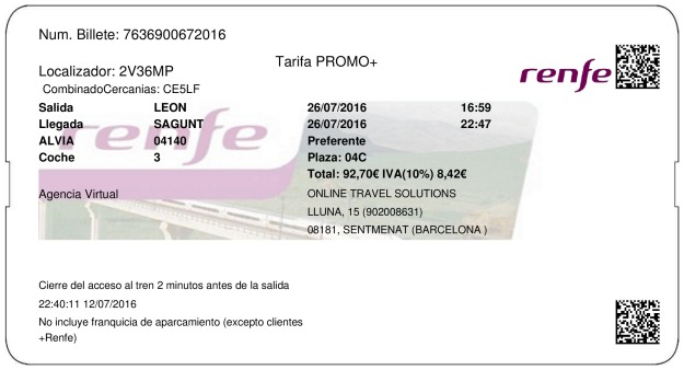 Billete Tren León  Sagunto 26/07/2016