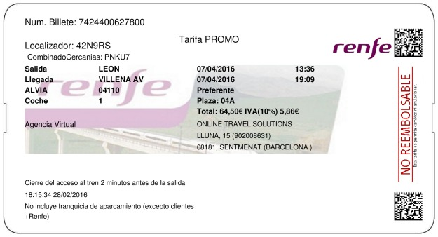Billete Tren Lion  Villena 07/04/2016