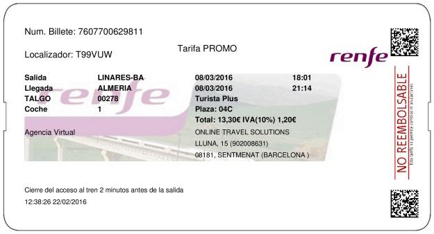 Billete Tren Linares  Almería 08/03/2016