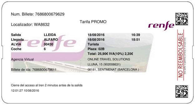 Billete Tren Lleida  Alfaro 18/08/2016