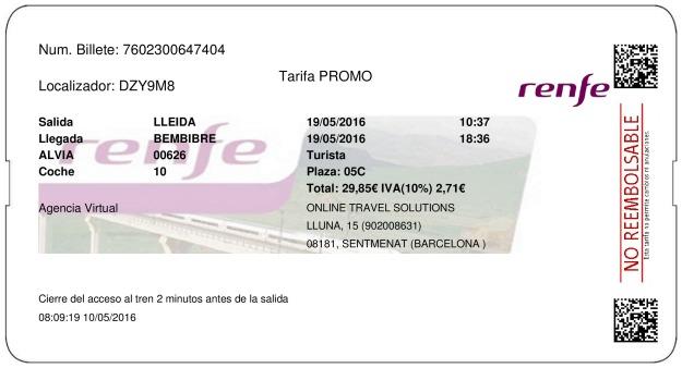 Billete Tren Lleida  Bembibre 19/05/2016