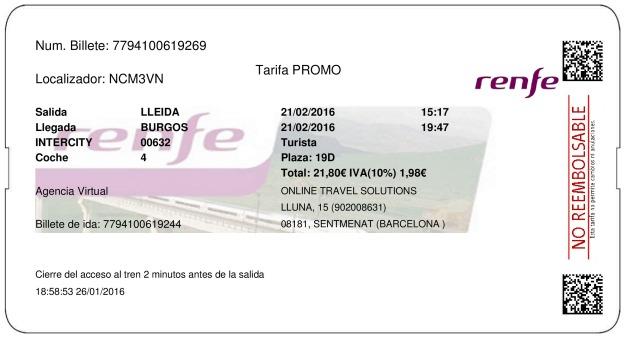 Billete Tren Lleida  Burgos 21/02/2016