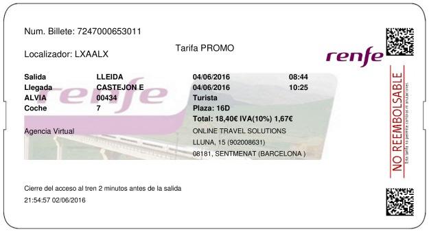 Billete Tren Lleida  Castejón De Ebro 04/06/2016