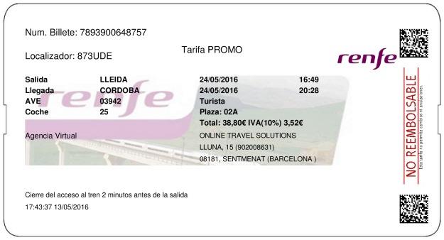 Billete Tren Lleida  Córdoba 24/05/2016