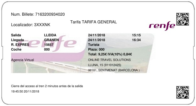 Billete Tren Lleida  Grañén 24/11/2018