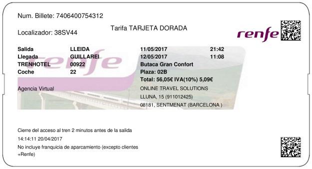 Billete Tren Lleida  Guillarei 11/05/2017