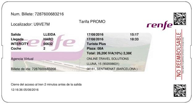 Billete Tren Lleida  Haro 17/08/2016