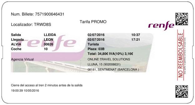 Billete Tren Lleida  León 02/07/2016