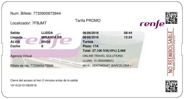 Billete Tren Lleida  Miranda De Ebro 06/08/2016