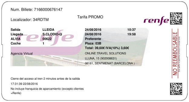 Billete Tren Lleida  Ribas de Sil 24/08/2016