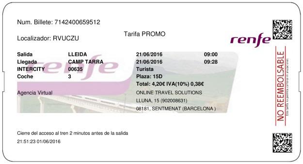Billete Tren Lleida  Tarragona 21/06/2016