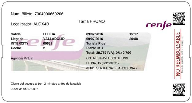 Billete Tren Lleida  Valladolid 09/07/2016