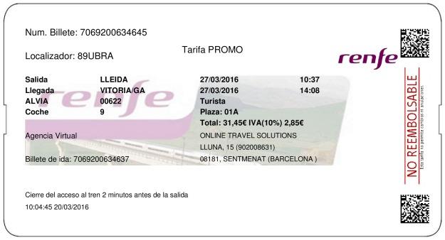 Billete Tren Lleida  Vitoria Gasteiz 27/03/2016