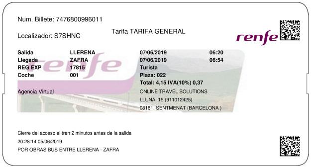 Billete Tren Llerena  Zafra 07/06/2019