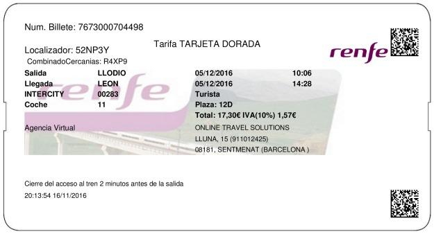 Billete Tren Llodio  León 05/12/2016