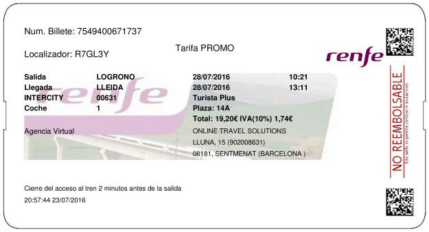 Billete Tren Logroño  Lleida 28/07/2016