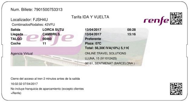 Billete Tren Lorca Sutullena  Cambrils 13/04/2017